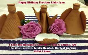 Terracotta Hand-built Clay Angels & Live Roses as Sculpture