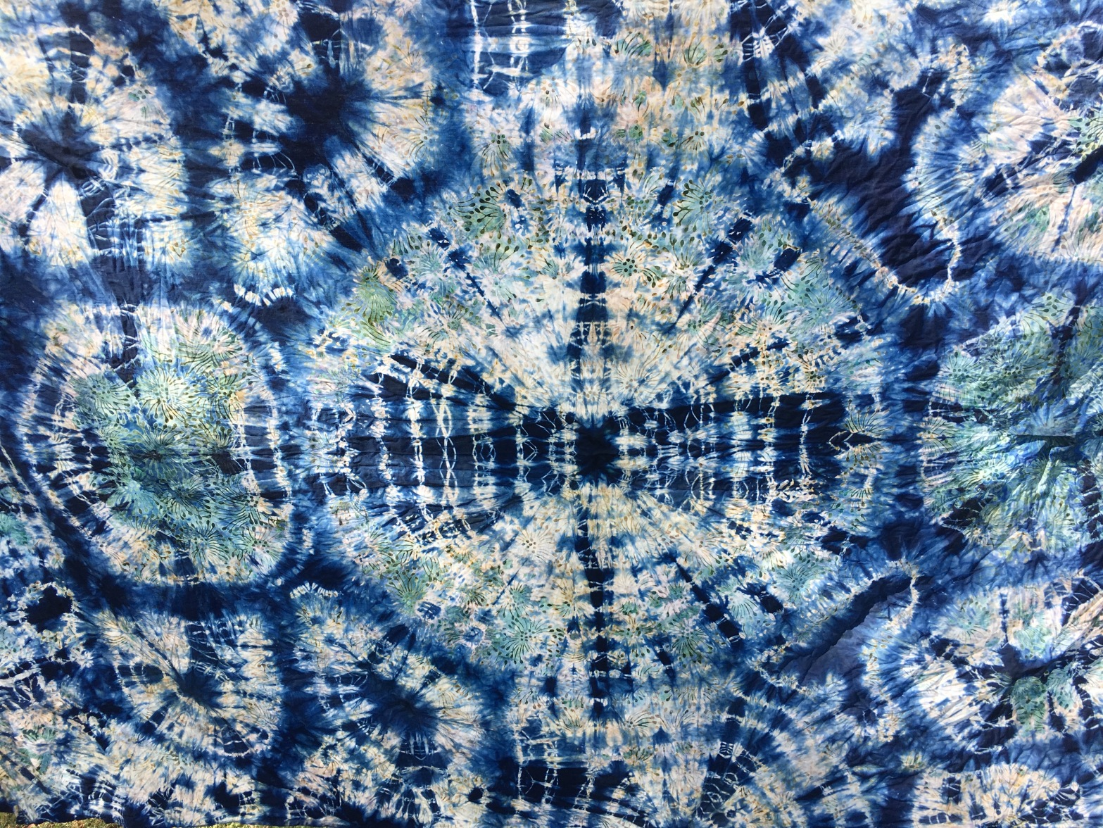 Indigo Dyed Screen Printed Cloth